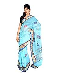 Jagadamba Solid Art Silk Sari (Blue)