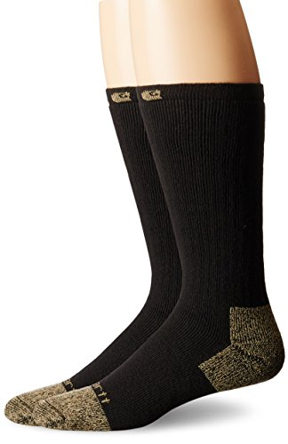 Carhartt Men's 2 Pack Full Cushion Steel-Toe Cotton Work Boot Socks, Black, 10-13 Sock/6-12 Shoe