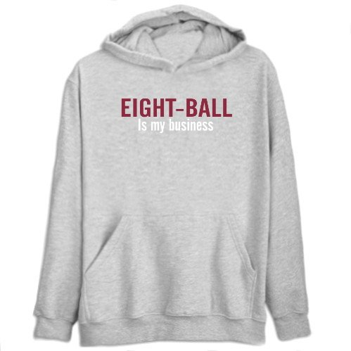 Eight-Ball Is My Business Sports Mens Hoodie (Heather Gray, Size Large)