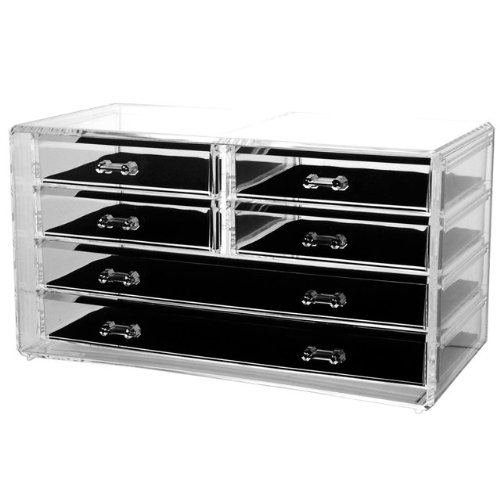 Deluxe 6-drawer Acrylic Jewelry Chest or Cosmetic Organizer with Removable Drawers and Liners