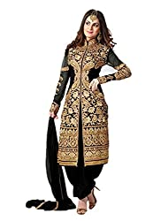 Regalia Ethnic New Collection Black Embroidered Georgette Semistitched Dress Material With Matching Dupatta