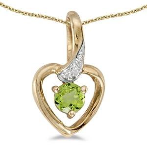10k Yellow Gold Round Peridot And Diamond Heart Pendant with 16