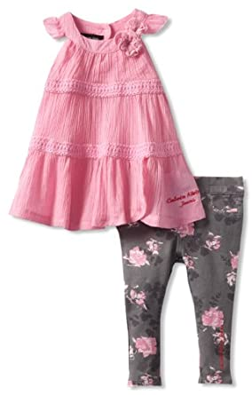 Calvin Klein Baby-girls Infant Tunic with Printed Pants, Pink, 18 Months