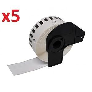 Compatible DK22214 (Cinta continua de papel) Continuous White Standard Address Labels for Brother QL-500, QL-550, QL-560, QL-570, QL-580N, QL-650TD, QL-700, QL-720NW, QL-1050, QL-1060N Label Printers, Thermal Paper Roll (12mm x 30.48m) - FIVE ROLLS  Oficina y papelería Comentarios y más información