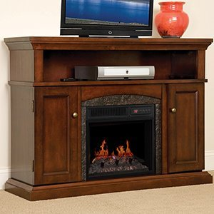 ChimneyFree Lynwood Electric Fireplace Entertainment Center in Vintage Cherry - 18MM4105-C233 (Cherry Wood Electric Fireplace compare prices)