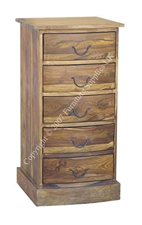 Jali 5 Drawer Bow Chest of Drawers - Tall Boy - Bedroom Furniture - Storage - Constructed from 100% Real Sheesham Wood - Indian Rosewood