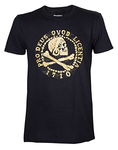 Maglietta Uncharted 4 T Shirt Skull Logo Gold Size M Bioworld