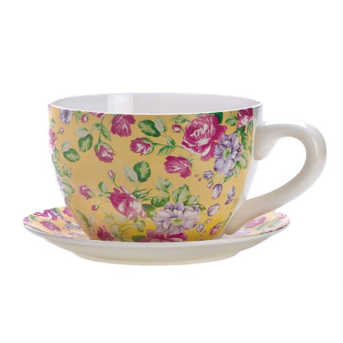 Gifts & Decor China Rose Teacup Saucer Herb Planter Flower Plant Pot