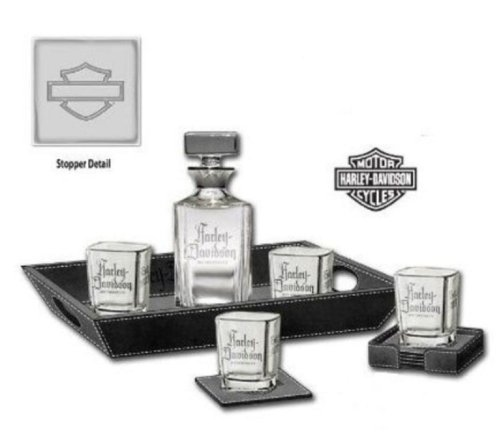Harley-Davidson® H-D® Decanter Beverage Set. Hand Blown 750ml Decanter. Four 8oz. Etched Tumblers. Coasters. HDL-18712