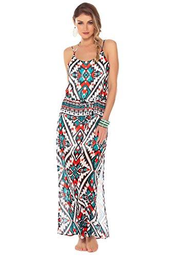 Becca By Rebecca Virtue Women'S Aztec Maxi Dress Swim Cover Up Multi L