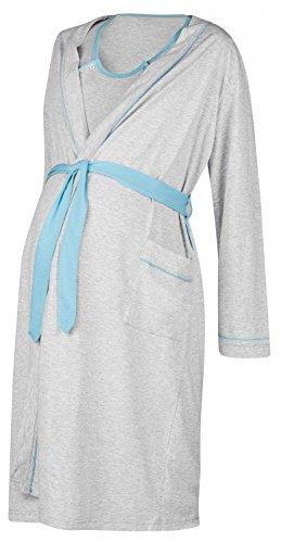 Happy Mama. Womens Maternity Hospital Gown Robe Nightie Set Labour & Birth. 767p (Blue, US 12/14, 2XL)