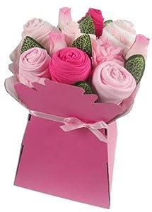 Say it baby - Ropa de bebé plegada con diseño de ramo de flores en caja de cartón con lazos y tarjeta (3-6 meses), color rosa