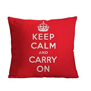 ilkin Decorative Red keep calm and carry on custom personalized pillow cases 18 x 18 Inch Cotton Pillow Cover Cushion Case