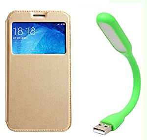 Novo Style Samsung Galaxy On5 Window View Premium Flip Cover Case W Stand View + Mini USB LED Light Adjust Angle / bendable Portable Flexible USB Light