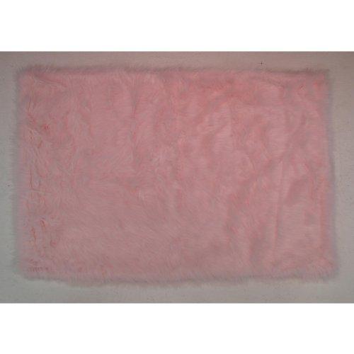 Flokati Area Rug Light Pink 31