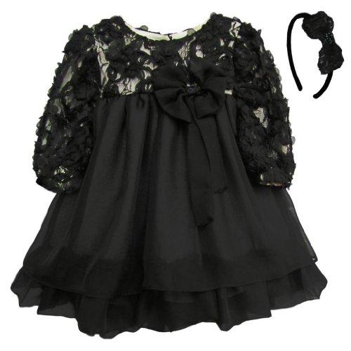 Isobella & Chloe Black Audrey Dress And Matching Headband. Black. Size 4T.