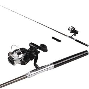 Mini Pocket Aluminum Alloy Pen Fishing Rod Pole w/ Reel from Epower Mall