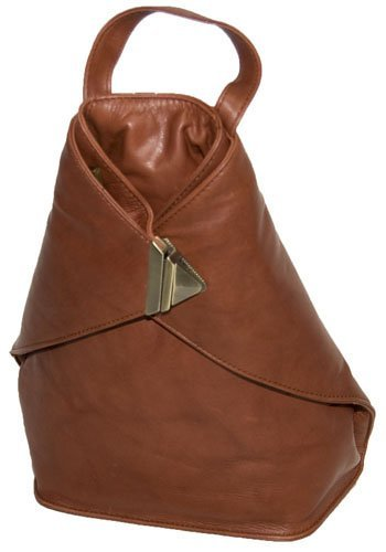B007XLLE7C Visconti 18259 Medium Size Ladies Triangular Leather Backpack Rucksack Handbag for Women (Brown)