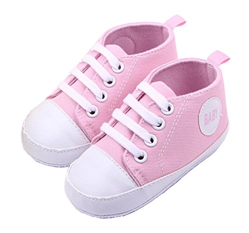 Cute Infant Toddler Baby Soft Sneaker Anti-skid Prewalker Casual Lace-up Canvas Trainers Crib Shoes Pink - 1