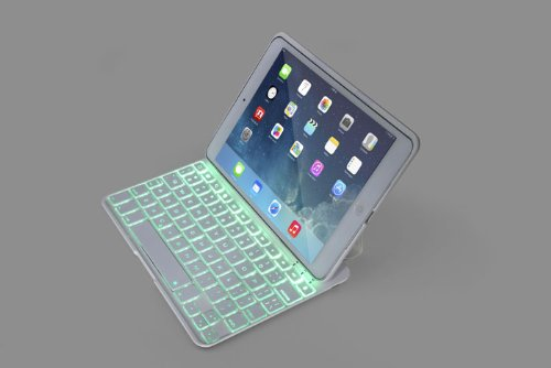 Happy Hours® 7 Color Led Backlighting Ultrathin Abs Alluminium Alloy Bottom Wireless Bluetooth Keyboard Case For Ipad Mini 1 2 White With Free Gifts Stylus & Screen Protection