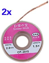 Comprar TOOGOO(R) 2pcs 2.0mm Solder Wick Remover desoldar trenza de alambre lechon cable fundente Flux