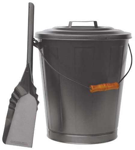 Uniflame OLDE WORLD IRON FINISH ASH BIN WITH LID AND SHOVEL picture
