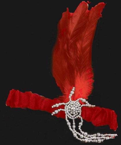 "Charleston Flapper Headpiece with ""Diamond"" Accents - Red"