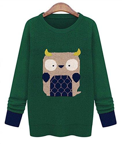 Lana Hua Women'S Novelty Owl Printed Long Sleeve Sweater Jumper (Green)