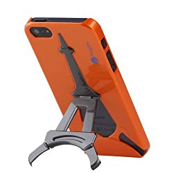 Amplim (TM) Eiffel for Apple iPhone 5/5S: High Quality Abrasion Resistant Hard Case With Eiffel Tower Kickstand - Retail Packaging Aug 2013 New Model (Orange Metallic)