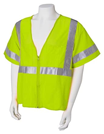 Jackson Safety ANSI Class 3 Mesh Deluxe Style Polyester Safety Vest with Silver Reflective