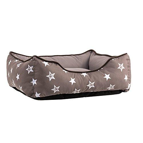 miaVILLA-Hundebett-Sterne-Polyester-grau-L