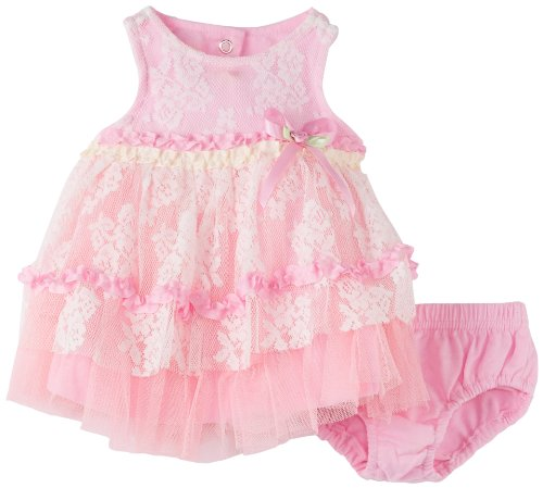 Nannettek Baby-girls Newborn 2 Piece Bow Knit Dress And Panty, Pink, 0-3 Months