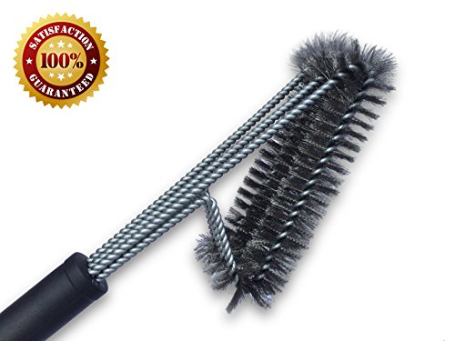 "BBQ Grill Brush By Uniwaresal - 18"" - 3 Original Stainless Steel Thickly Woven Wire Grill Brushes in 1 - Perfect Cleaner Accessory for Weber, Porcelain, Char-Broil, and Infrared Barbecue Grills"