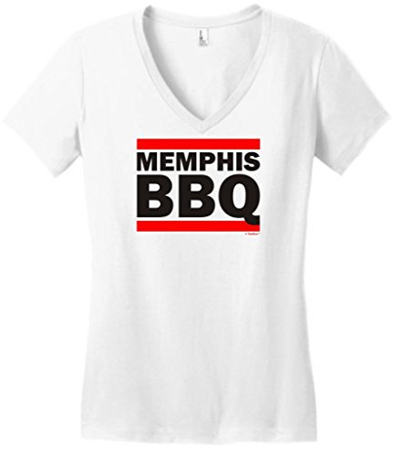 Tn Bbq Funny Memphis Barbeque Gift Juniors V-Neck Large White
