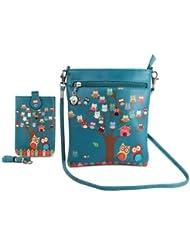 Combo Offer Of Designer Sling Bag + Mobile Sling Bag Green Printed Stylish Mobile Sling Bag For Girls, Womens,...