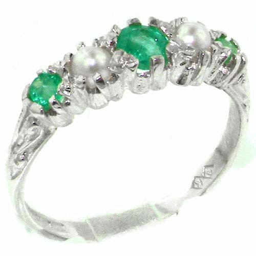 Antique Style Solid Sterling Silver Natural Emerald & Pearl Ring with English Hallmarks - Size 11.25 - Finger Sizes 4 to 12 Available - Suitable as an Anniversary ring, Engagement ring, Eternity Ring, or Promise ring