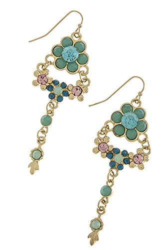 Trendy Fashion Jewelry Faceted Floral Drop Earrings By Fashion Destination