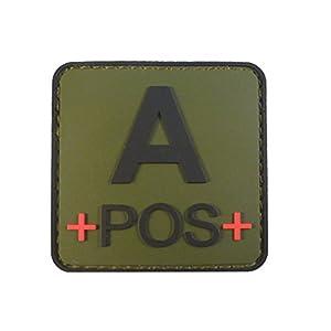 Olive Drab OD Green APOS A+ Groupe Sanguin Tactical Combat PVC Gomme 3D Velcro Écusson Patch
