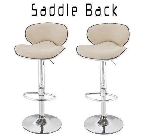 """Saddleback Modern Adjustable """"Leather"""" Bar Stool (Set Of 2) - Crème front-1027576"""