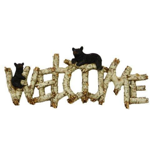 Bear Welcome Sign Birch Wood Bear Welcome Door Cabin Door Hanger Decor (Hand Painted Poly Resin Design)