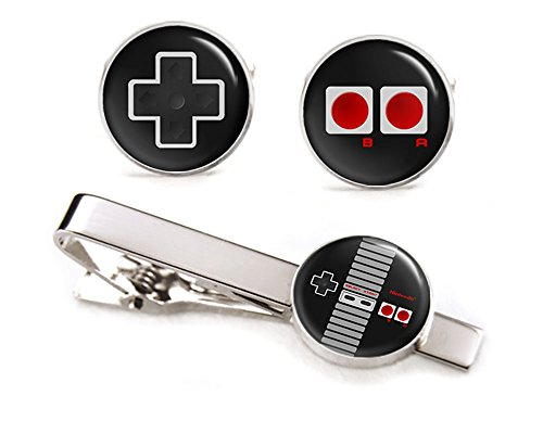 NES Nintendo Cufflinks, Super Nintendo Controller Tie Clip, Gaming Jewelry, SNES Cuff Links, Legend of Zelda Mario Brothers Retro Gifts