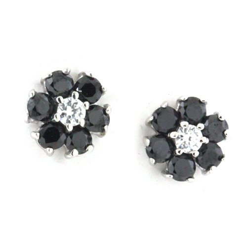 Sterling Silver CZ Black & White Diamond Daisy Flower Stud Earrings