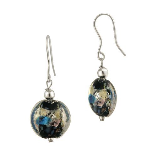 Sterling Silver Multi-Color Hand Blown Glass Round Drop French Wire Earrings