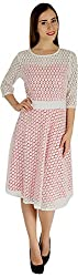 Holidae Women's Lace Net Midi Dress (HI-dr-MD-062-White and Red_M, Red and Off White, M)
