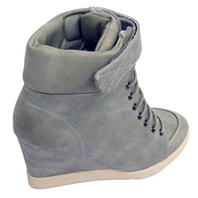Pebble Grey Lace-Up Velcro Ankle Wedge Trainer Boots