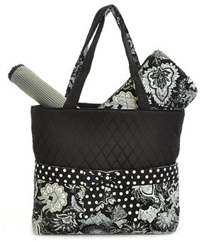 larlar oliff quilted floral 3pc diaper bag black whitecompra en d lares. Black Bedroom Furniture Sets. Home Design Ideas
