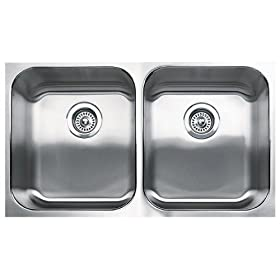 Blanco 501-306 Spex Plus Equal Double Bowl Undermount Kitchen Sink, Satin Finish