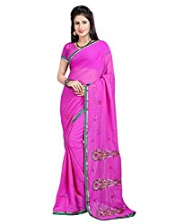 Pruthu Printed Fashionable Embroidered Georgette Saree