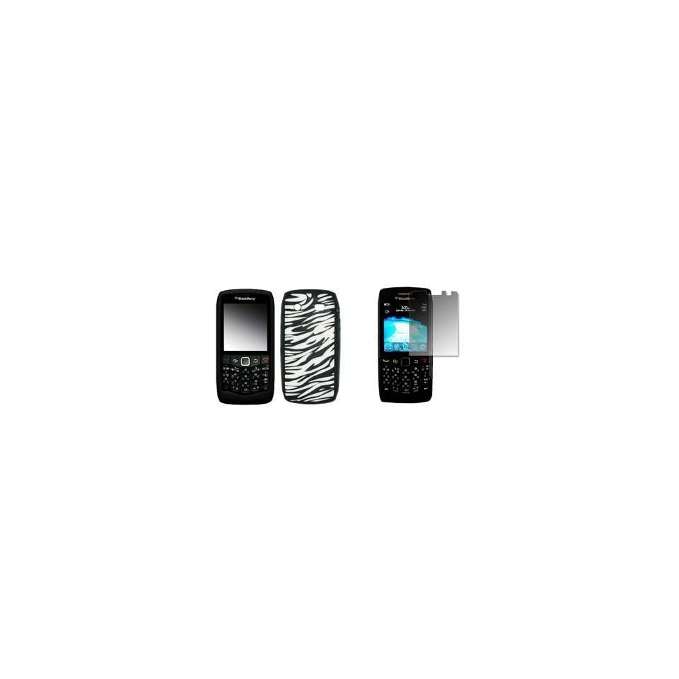 BlackBerry Pearl 3G 9100   Premium Zebra Stripes Design Soft Silicone Gel Skin Cover Case + Crystal Clear LCD Screen Protector for RIM BlackBerry Pearl 9100