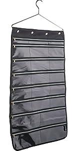 misslo 44 pockets oxford hanging jewelry organizer with zipper hanger black home. Black Bedroom Furniture Sets. Home Design Ideas